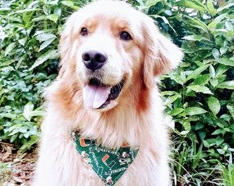 University of Miami & Tropical Leaves Dog Bandanas - UM Hurricanes Gift - Reversible Over The Collar