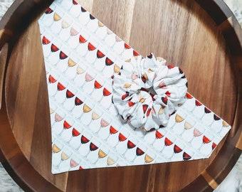 Wine Lover Dog Bandana & Scrunchie - Wine lover gift - Reversible - Summer Winery Trips Gear