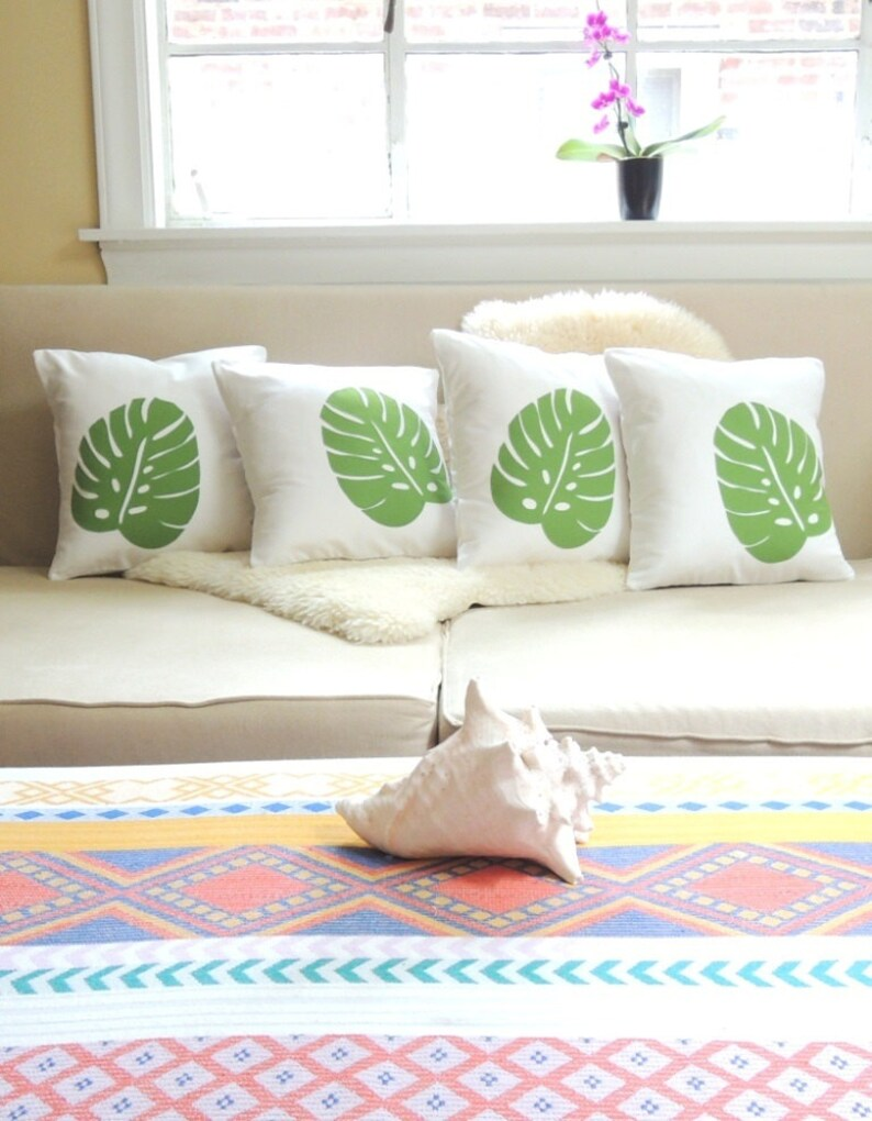 Tropical Monstera Leaf Pillow Cover Set of 4   West Indies image 0
