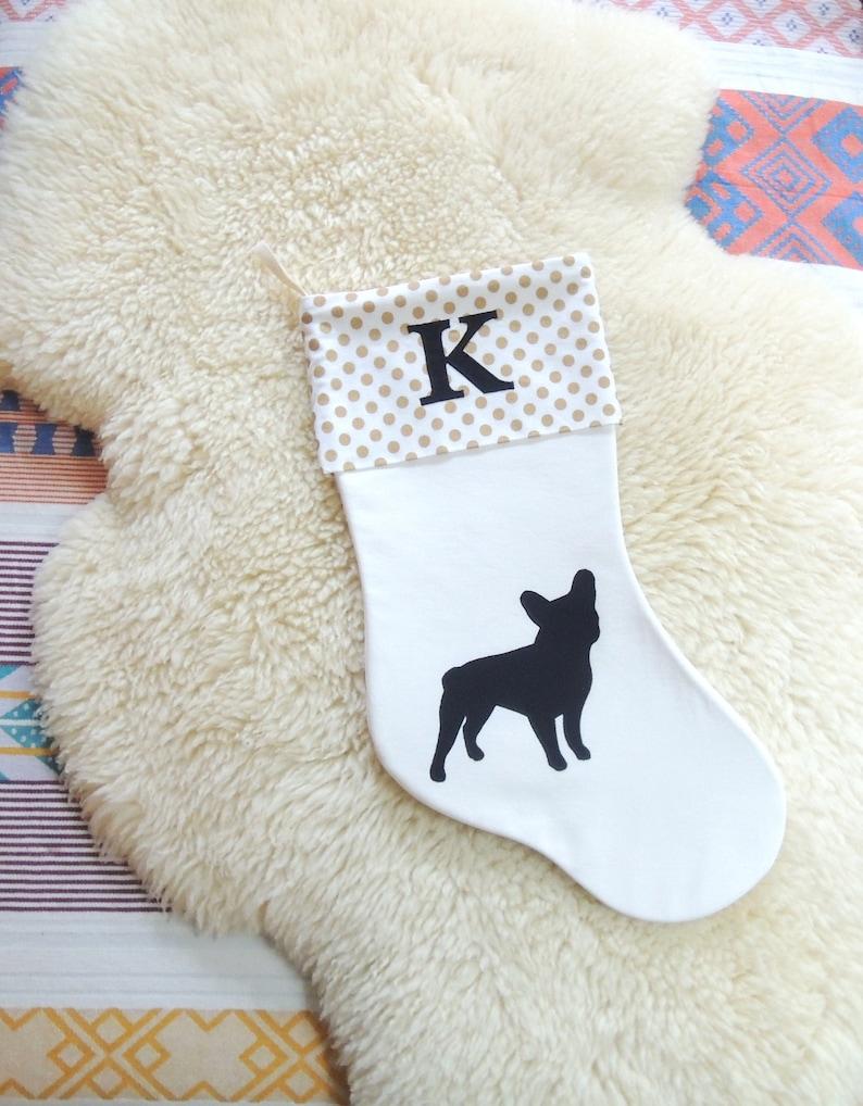 French Bulldog Applique Christmas Stocking  Personalized image 0