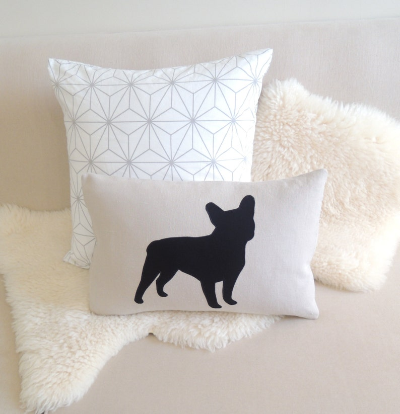 French Bulldog Pillow Cover  Modern Black Frenchie Appliqué image 0