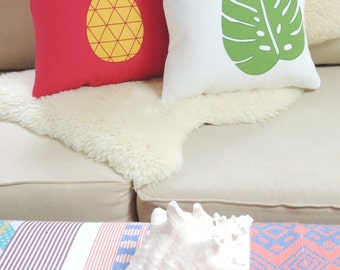 Tropical Monstera Leaf or Pineapple Pillow Cover