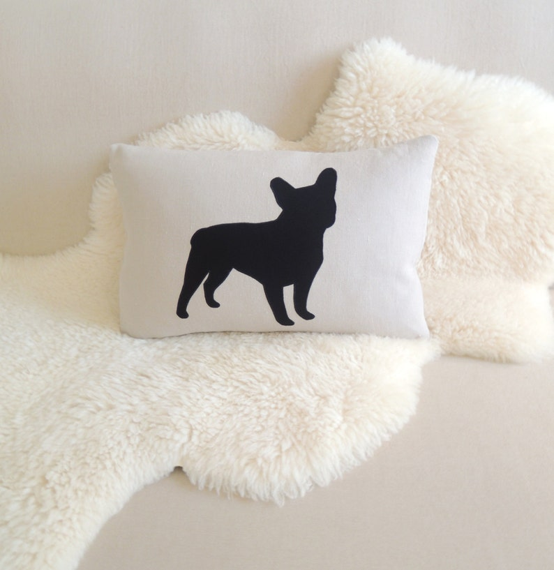 French Bulldog Lumbar Pillow Cover  Luxe Linen & Black image 0