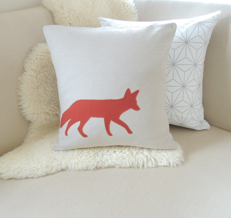 Fox Pillow Cover  Rustic Modern image 0