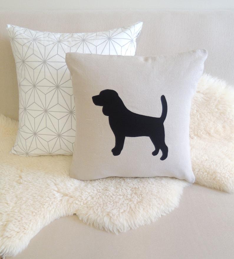 Beagle Appliqué Pillow Cover  Custom Colors image 0