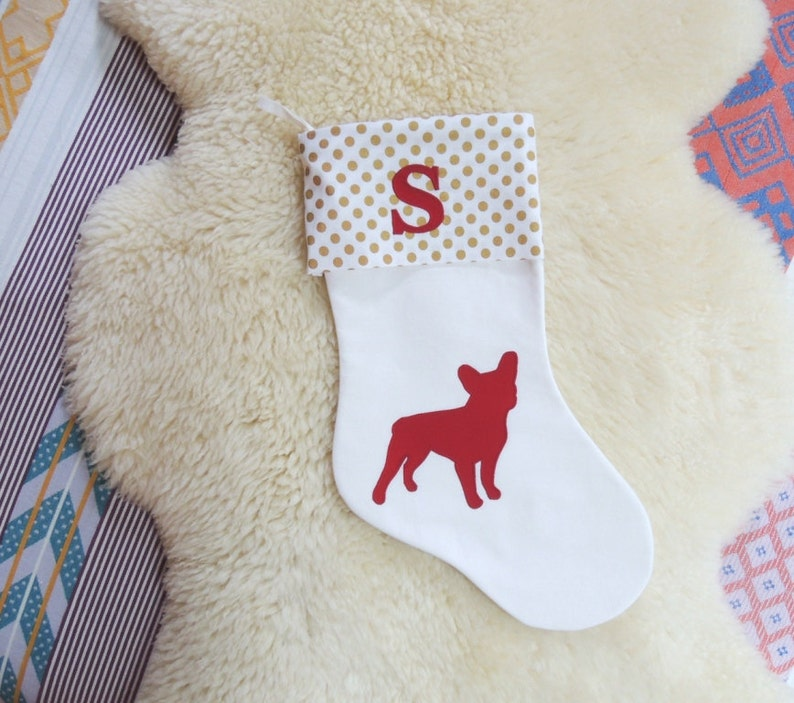 French Bulldog Applique Christmas Stocking  Personalized image 0