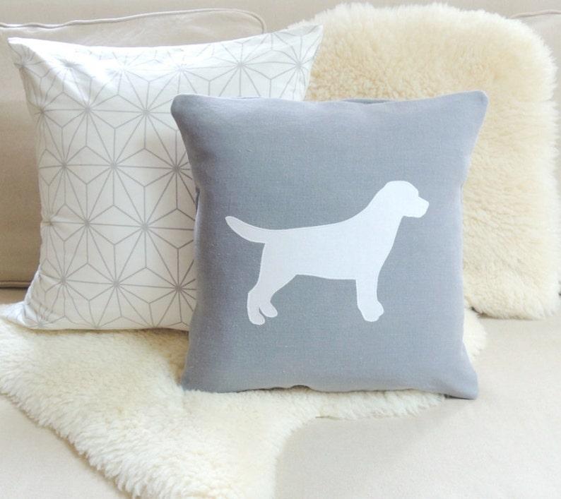 Labrador Pillow Cover  Gray Linen & White image 0