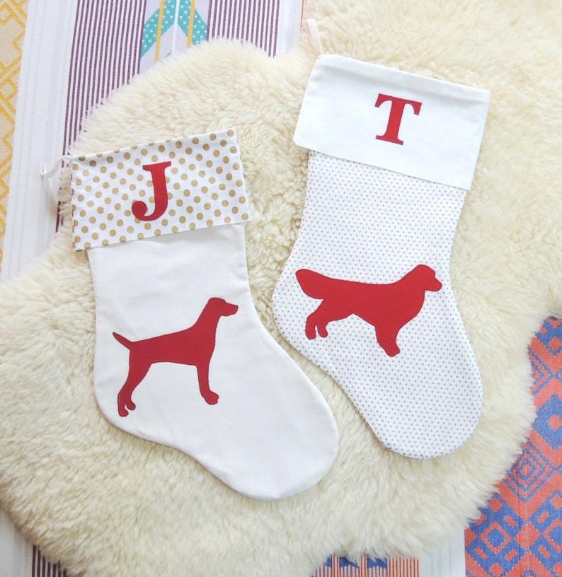 Dog Christmas Stocking  Personalized Monogram  Customize image 0