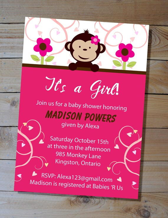 Monkey Baby Shower Invitation Choose Your Colours Diy Etsy