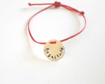 gratitude bracelet, silver plated disc, hand stamped,gratitude, minimalist, spiritual, yoga,friendship, symbolic jewelry, mindful ,thankful