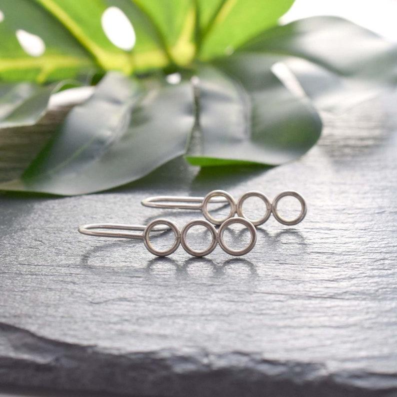 triple circle earrings minimalist round silver earrings image 0