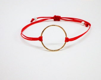 Gold Filled Karma Bracelet, adjustable red cord, circle, eternity bracelet, simple, minimalist, yoga, festival, friendship bracelet