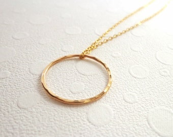Gold Karma Eternity circle necklace, gold chain layering necklace, 14kt gold filled round charm, delicate necklace, simple, minimalist