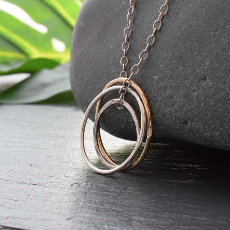 three circle necklace trio ring necklace gold and silver image 0