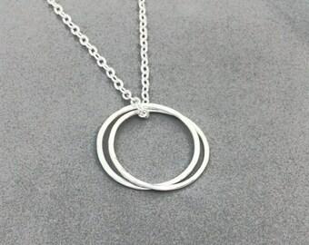 Sterling Silver, Karma Twin, Circle necklace, unisex, minimalist jewelry, symbolic, mindful simple, dainty, layering, boho chic, yoga