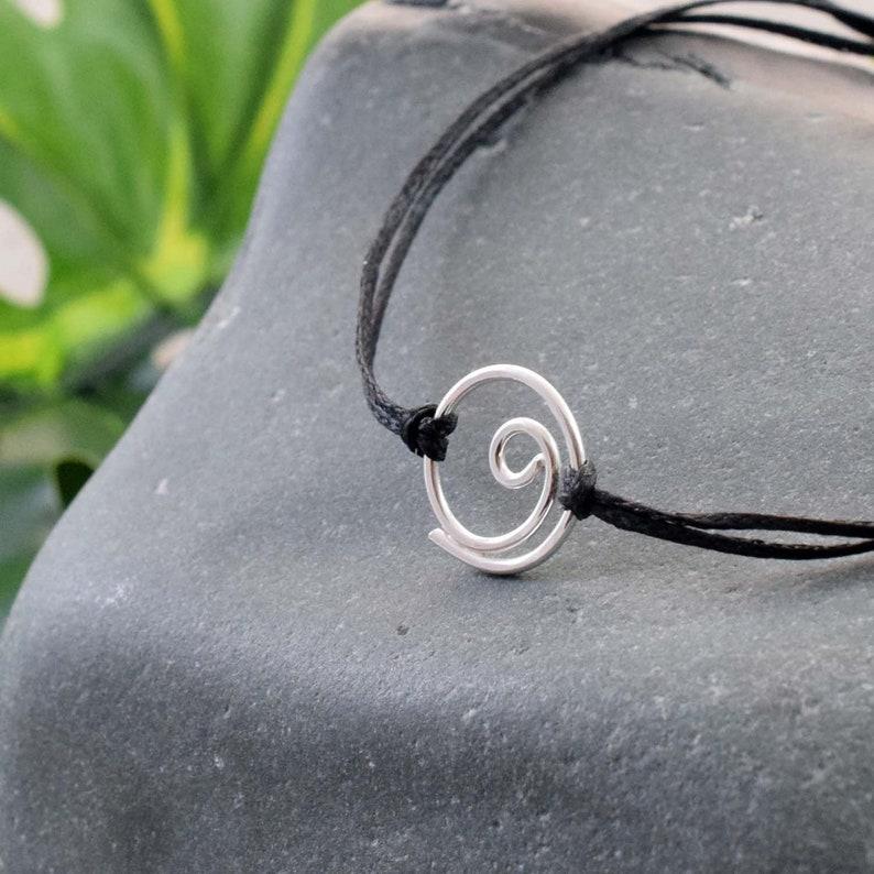 Silver Gratitude bracelet gratitude symbol minimalist Black