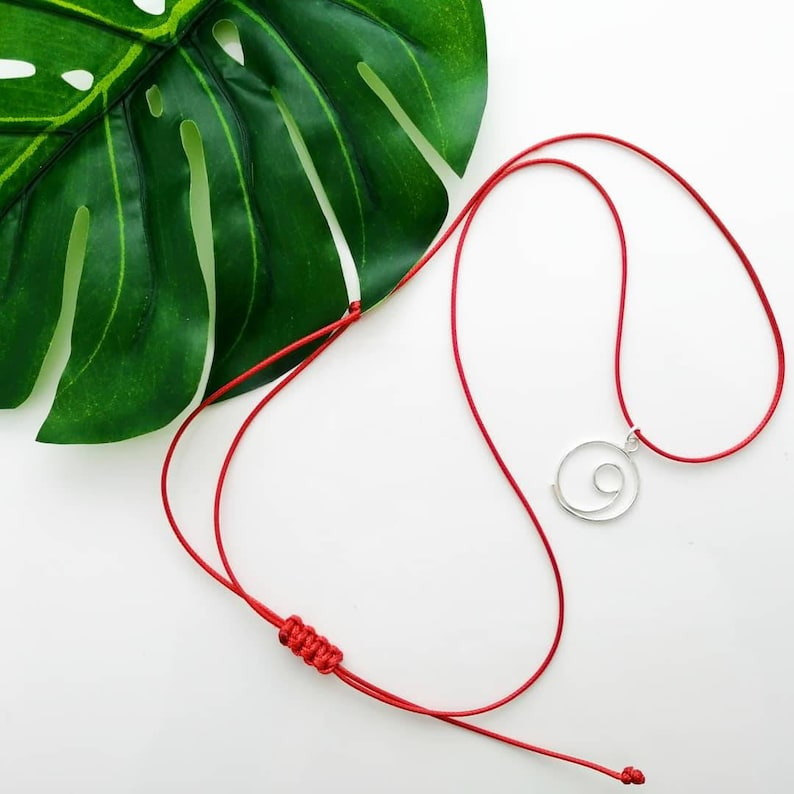 Gratitude red cord necklace thank you gift minimalist r e d