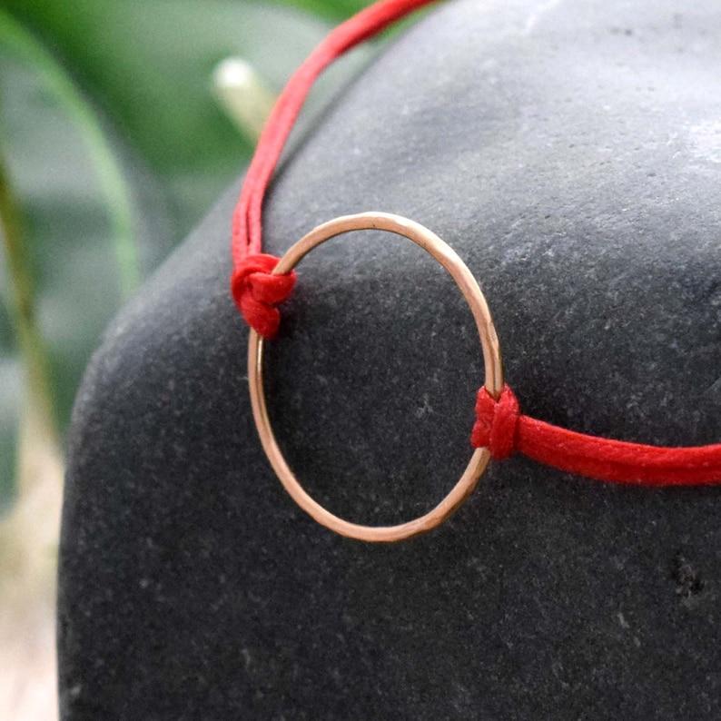 Gold Karma bracelet red circle bracelet mindful jewelry image 0