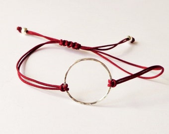 Sterling Silver Karma Bracelet, adjustable red wine cord, circle, eternity, simple, minimalist, yoga, festival, friendship bracelet