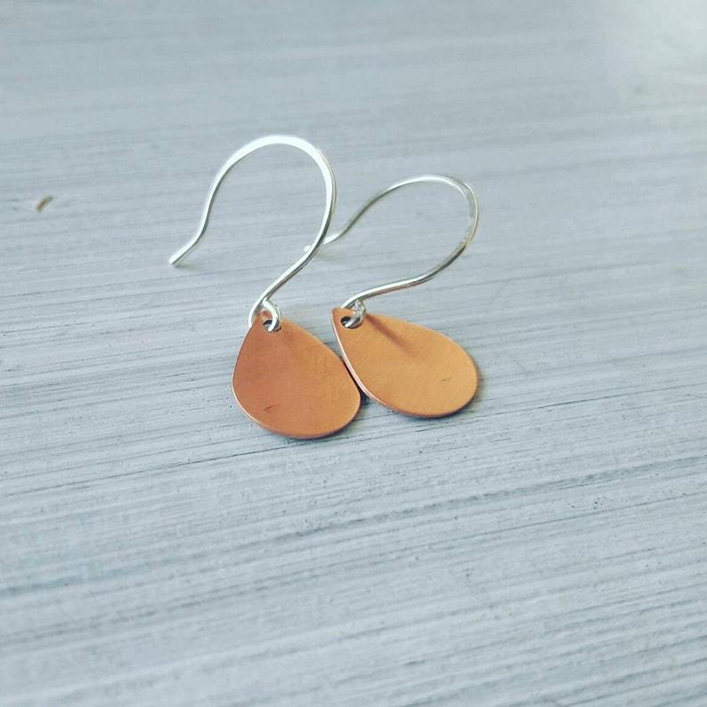 Copper tear drop earrings simple minimalist jewelry tear image 0