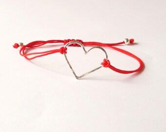 Sterling silver heart bracelet, red heart bracelet, simple jewellery, friendship bracelet, mindful, thankful, valentines gift, love