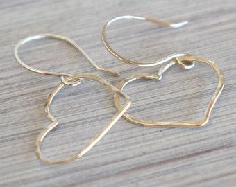 Sterling silver heart earrings, minimalist earrings, wire hearts, love earrings, silver wire jewelry, minimal, mindful