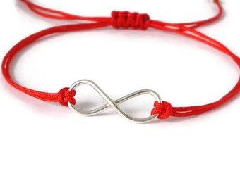 Unisex Sterling Silver Infinity Bracelet, charm bracelet, infinity symbol, yoga jewelry, friendship bracelet, minimalist, strawberry red