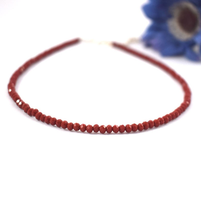 Red choker necklace crystal necklace crystal choker red image 0