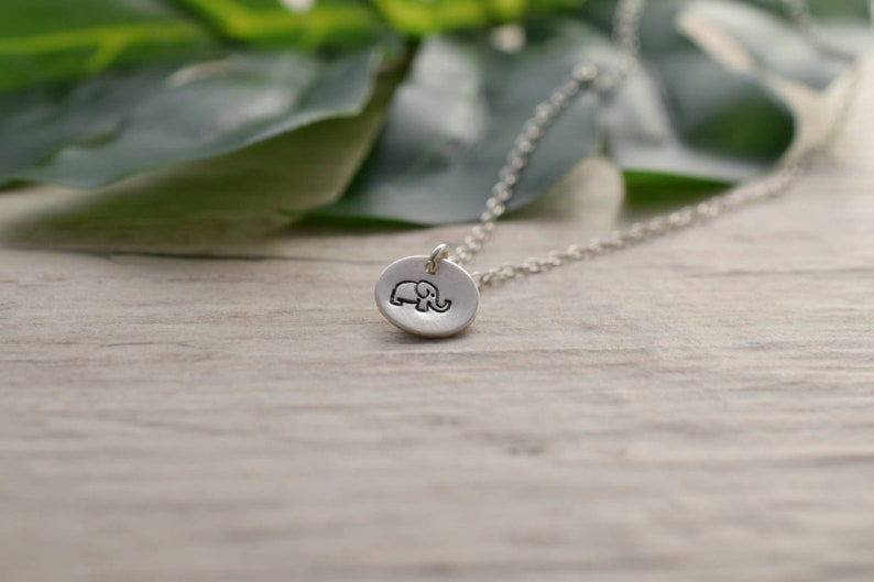 Sterling silver Elephant necklace hand stamped jewellery image 0