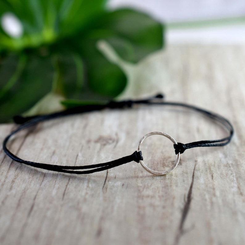 Mini Silver Black Karma Bracelet mindful jewelry karma image 0