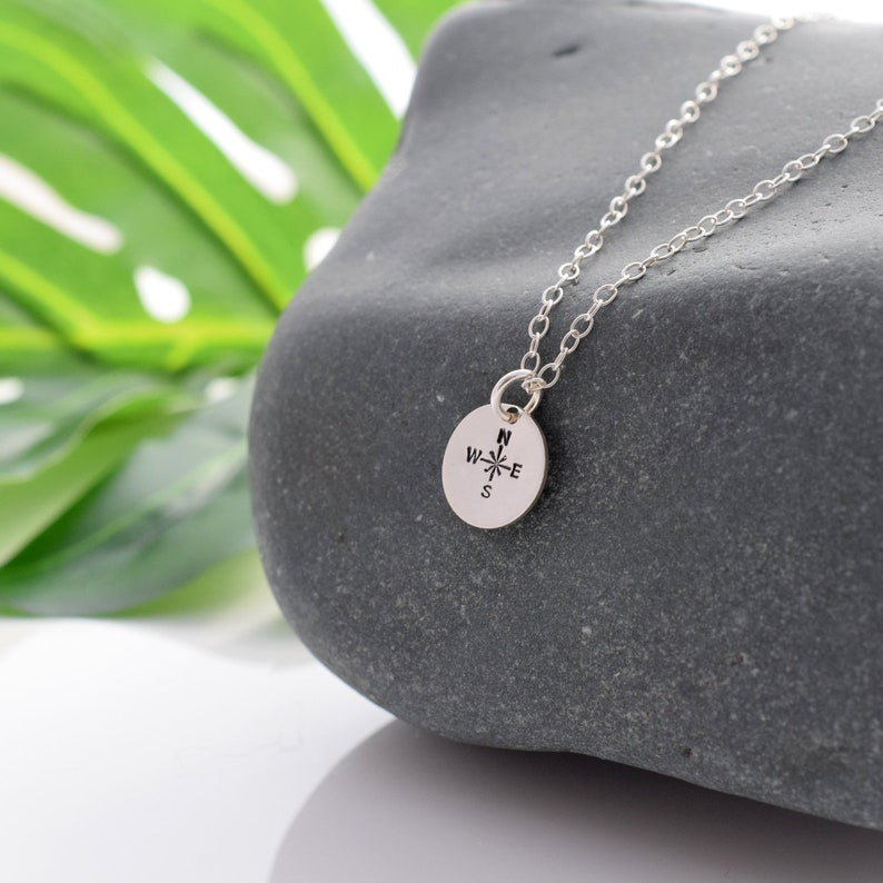 Silver compass necklace direction compass pendant mindful image 0