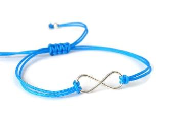 Unisex Sterling Silver Infinity Bracelet, charm bracelet, infinity symbol, yoga jewelry, friendship bracelet, minimalist, turquoise, blue