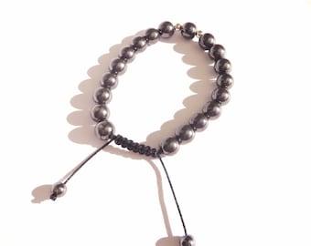 Unisex black hematite adjustable bracelet, man's bracelet, yoga bracelet, boho, stacking jewelry