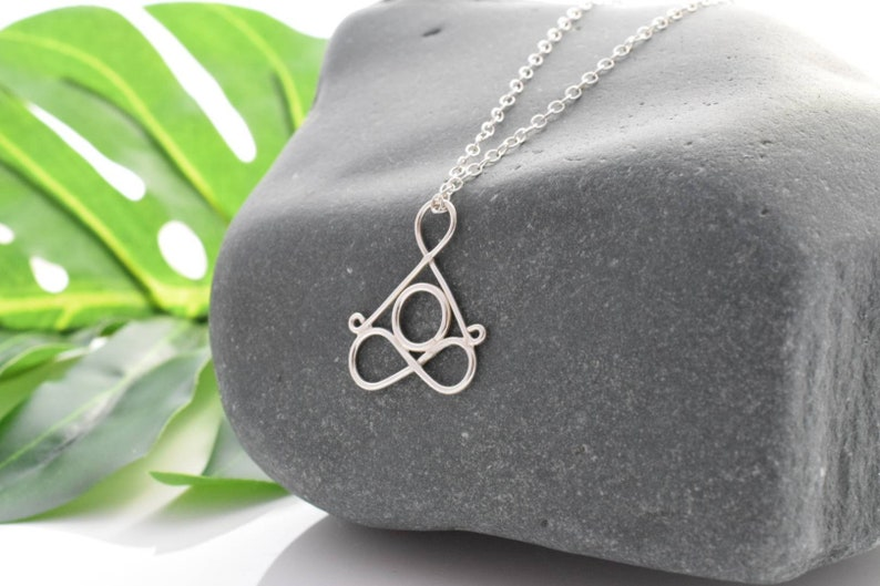 Sterling Silver Yoga necklace lotus pose minimalist image 0