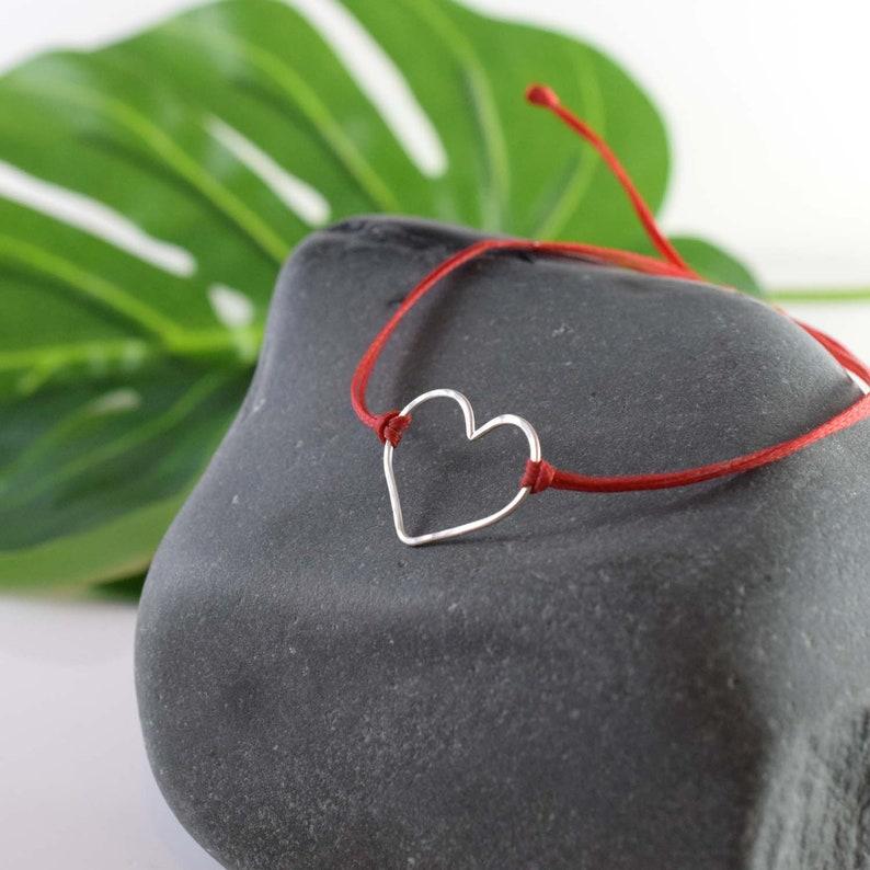 Silver heart bracelet red heart bracelet gift of love image 0