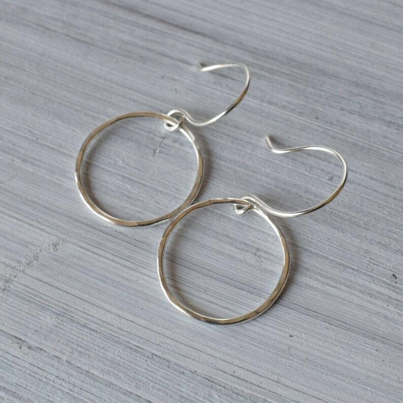 Silver circle karma earrings open circle drop earrings image 0