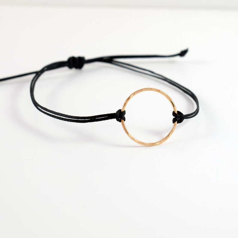 Gold Karma bracelet black circle bracelet mindful jewelry image 0