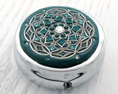 TEAL Pill Box Case Organizer Mint Box with Swarovski Crystals-Teal Blue Mulitcolored Crystals