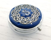 PICK YOUR COLOR Custom Personalized Pill box Mint Box, lip gloss container with Swarovski Crystals and Silver-tone Filigree
