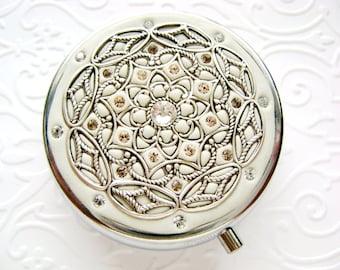 WHITE   Pill Box Case Organizer/ Mint Box with Swarovski Crystals and Silver-tone Filigree Pure White Mulitcolored Crystals