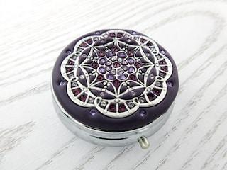 Dark Violet Purple   Pill Box Case Organizer Mint Box with Swarovski Crystals-Light Sapphire Wedding Mulitcolored Crystals