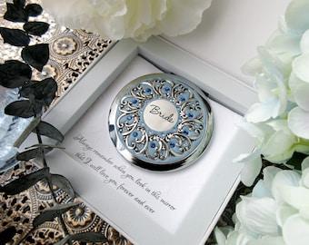 Something Blue Bridal Gift, Bridal Compact Mirror, Unique Bridal Gift