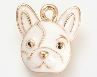 French Bulldog Pendant/Charm in White Enamel with Gold Finish.