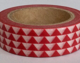 "SPECIAL PRICE !New Print Washi Tape ""Tribal"" in Red and White  15mm x 10 meters"