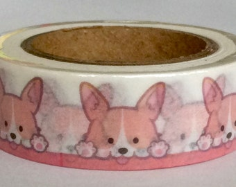 "NEW PRINT Washi Tape ""Corgi Love"" 15mm x 10 Meters"