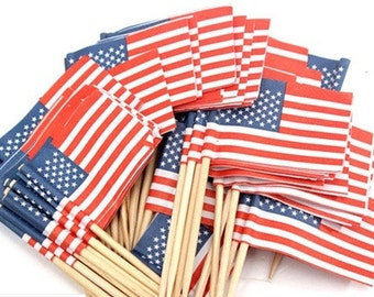 SALE American Flag Party Picks Set of 50. Show your Patriotic Side!!