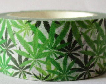"SALE Wide Roll Cannabis/Marijuana Exclusive Print Washi Tape ""BUSHY""  20mm x 10 Meters"