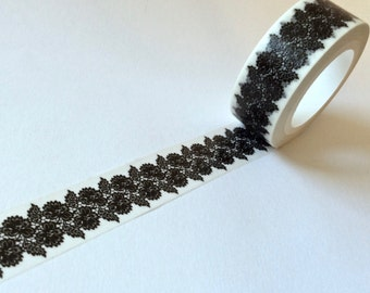 SALE Washi Tape 'BLACK LACE'  15mm x 10 meters