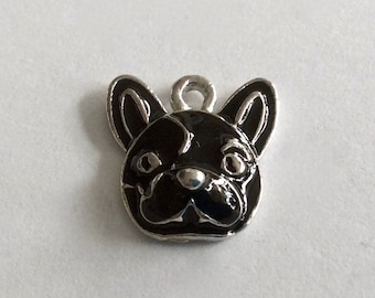 French Bulldog Pendant/Charm in Black Enamel with Silver Finish.