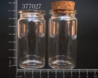 Lots 10 Pcs Small Empty Clear Heart Shape Cork Glass Bottles Vials 22x25 mm